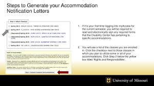 Steps To Generate Your Accommodation Notification Letters