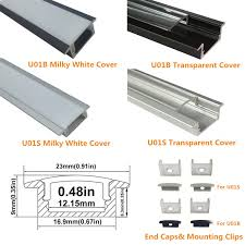 u01 9x23mm u shape internal profile width 12mm led aluminum channel system with cover end capounting clips for led strip light installations