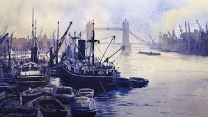 london history docks thames watercolour painting