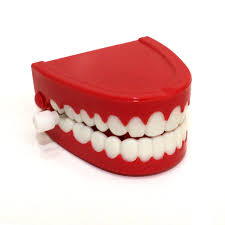teeth chattering wind up toy red fake gag chopper funny diabolical