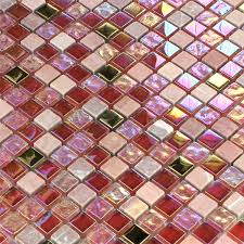 mosaic tiles glass natural stone red pink gold