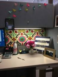 decorate office cubicle. Exellent Decorate Love This Waverly Fabric Pinned Over The Covered Walls Also Love  Origami Butterflies From Post Its For Decorate Office Cubicle