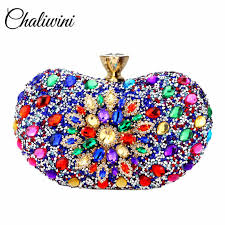 <b>Chaliwini</b> Evening Diamond Two side Floral <b>Woman Clutch Bag</b> ...