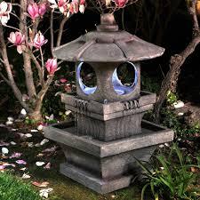 Lighted Water Fountain Outdoor Decor Outdoor Water Fountain Garden Lighted W Pump Weather Resistant Patio Asian Zen