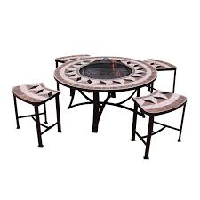 gardeco aefelina round fire bowl table 4 seats