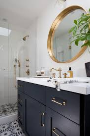 houzz bathroom vanity lighting. From Houzz, But Saved To Idea Book There. Dark Blue Cabinets, A Caesarstone Vanity Top And Brass Details Create An Elegant Blend In The Bathroom. Houzz Bathroom Lighting O