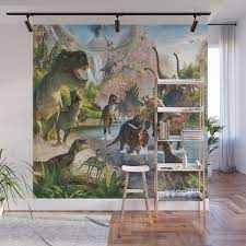 jurassic dinosaur wall mural by