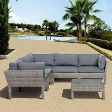 Atlantic contemporary lifestyle infinity gray 6 piece all weather wicker patio seating set with
