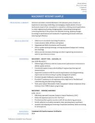 Machinist Resume Samples Cnc Machinist Resumes