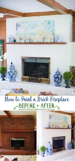 how to paint a fireplace before and after blue and white home decor white