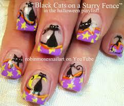 Nail Art Tutorial| DIY Halloween Nails | Black Cats and Stars ...