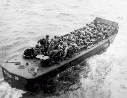 「Allied troops on a landing craft as it nears Omaha Beach」の画像検索結果