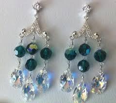 emerald swarovski crystal chandelier earrings