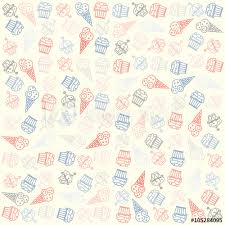 Hand Drawn Ice Cream And Muffin Seamless Pattern Vector Ice Cream