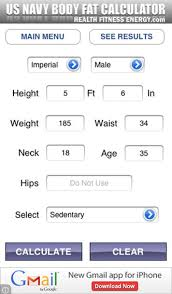 Body Fat Calculator Us Navy Edition By Kevin Morneault