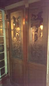 a pair large pine belgian art nouveau etched glass doors antique vintage saloon