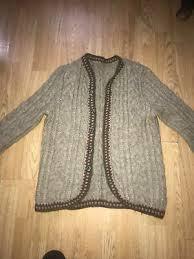 VINTAGE 1980S CREAM Homemade Aaron Cable Knit Midi Length Winter Cardigan L  UK16 - £17.50 | PicClick UK