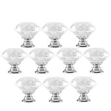 10pcs crystal drawer pulls glass clear door knobs for kitchen cabinets wardrobe cupboard closet hutch chest desk diamond shape furniture handles w by