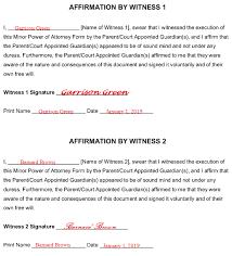 free minor child power of attorney form