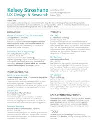 UX designer resume - projects and work experience section