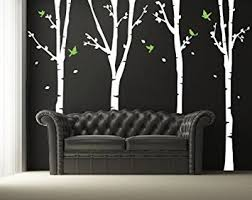 pop decors vinyl art wall decals four super birch trees on birch tree branch wall art with amazon pop decors vinyl art wall decals four super birch trees