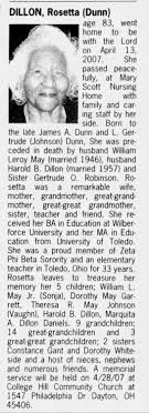Obituary for Rosetta DILLON (Aged 83) - Newspapers.com