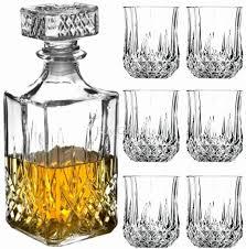 whiskey glass and decanter set elegant whiskey glass tumblers and square glass decanter bottle set 6