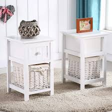 Shabby chic nightstand Paint Amazoncom Eight24hours Pair Of Retro White Chic Nightstand End Side Bedside Table Wwicker Storage Wood Kitchen Dining Amazoncom Eight24hours Pair Of Retro White Chic Nightstand End
