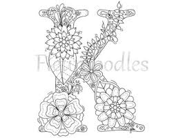 Small Picture adult coloring page floral letters alphabet D hand