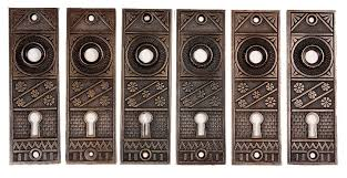 three matching antique door hardware sets by f c linde with knobs plates locks ndks34 two available for