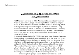 of mice and men loneliness gcse english marked by teachers com document image preview