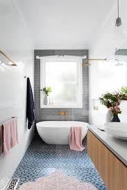 Grey tile accent wall bathroom