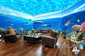 ocean themed wall murals fish tank park theme space entire room wallpaper mural decal beach bedroom