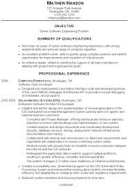 Resume Template For Experienced Software Engineer Example