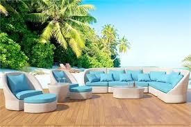 Atlantis White Outdoor Wicker Sectional Sofa Patio Furniture XL