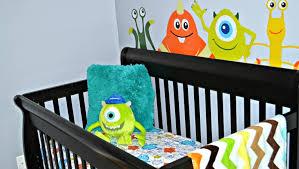 baby monster crib bedding nursery reveal tour monsters inc theme decor disney