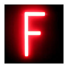 Letter Led Neon F Width 84mm Height 161mm Depth 38mm