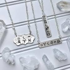 Custom Astrology Necklace Herkimer Diamond Jewelry Bar Necklace Birth Chart Necklace Zodiac Jewelry Natal Chart Celestial Jewelry