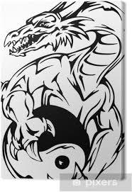 Obraz Dračí Tetování S Jin Jang Registrovat Na Plátně
