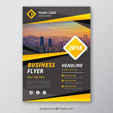 Basic Flyer Template Grey And Yellow Business Flyer Template Vector Free Download