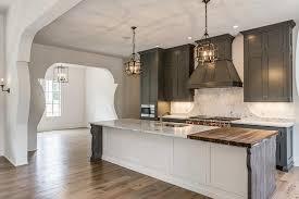 Gray Kitchen Cabinets With White Island Mediterranean Kitchen