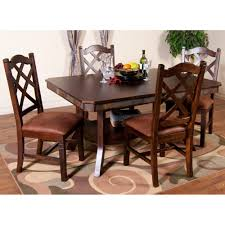 santa fe wood double leaf dining table in dark chocolate