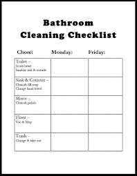 bathroom cleaning schedule. Bathroom Cleaning Chart Schedule T