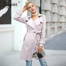 leather suede winter autumn coat women elegant belt long windbreaker casual turn down outerwear trench coat