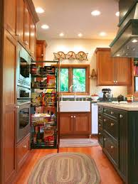 small country kitchen with pull out pantry storage