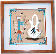signed by the artist this authentic sand painting was created by navajo artist rita johnson and is framed in an 18 inch x 18 inch natural oak wood frame