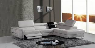 chic grey leather reclining sofa saffron modern leather sectional sofa w beverage console and