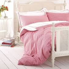 raspberry red gingham bed linen