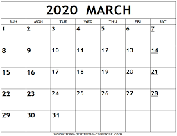 Printable Calendars For 2020 Printable 2020 March Calendar Free Printable Calendar Com