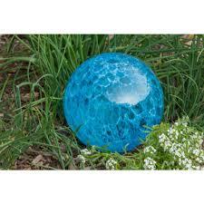 Outdoozie Outdoor Glass Solar Light Outdoozie 7 In Gazing Ball Art Glass Solar Light